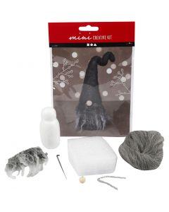 Mini kit créatif, Lutin de Noël, H: 13 cm, mix gris, 1 set