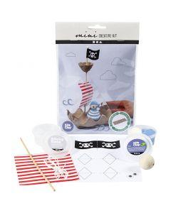 Mini kit créatif, Bateau pirate fait avec une boîte à œufs, 1 set