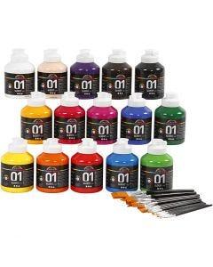 Peinture acrylique A-Color, brillante, couleurs assorties, 1 set