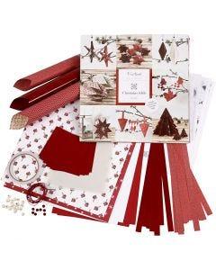 Ensemble tressage et pliage, rouge, blanc, 1 set