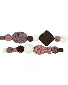 Perles de luxe - Assortiment, d: 6-37 mm, diamètre intérieur 2 mm, rose antique (25), 1 set
