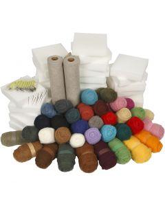 Feutrage à l'aiguille - colis classe, couleurs assorties, 1 set