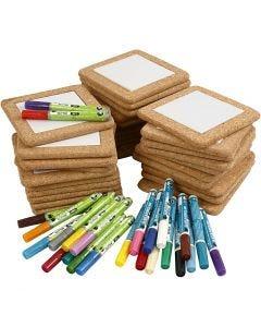Kit dessous-de-plats à décorer, dim. 15,5x15,5 cm, couleurs assorties, 1 set