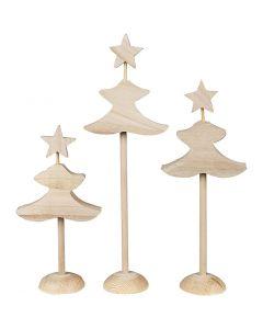 Sapins de Noël, H: 26 cm, 3x2 pièce/ 1 Pq.