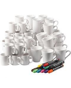 Tasses en porcelaine, H: 7-10 cm, blanc, 1 set