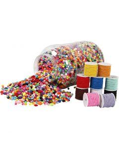 Perles en plastique et corde élastique, 1 set