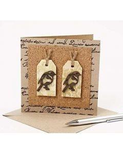 Cartes avec liège et oiseaux