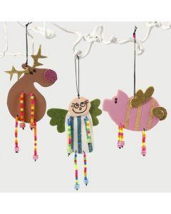 Figurines de Noël en mousse avec jambes recouvertes de perles