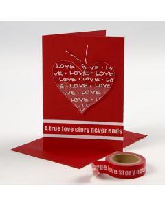 Une carte de Saint-Valentin avec un coeur en plexiglas décoré
