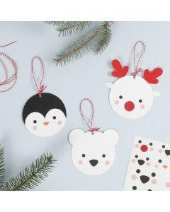 Des décorations d'animaux polaires en papier cartonné, à suspendre