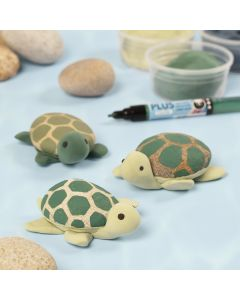 Turtles painted on stones with Plus Color markers and Silk Clay