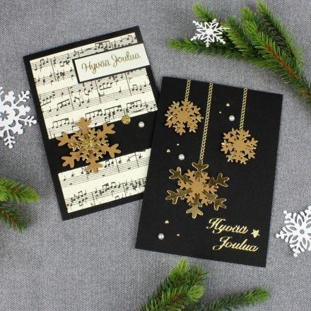 Nahkapaperihiutaleet joulukorteissa
