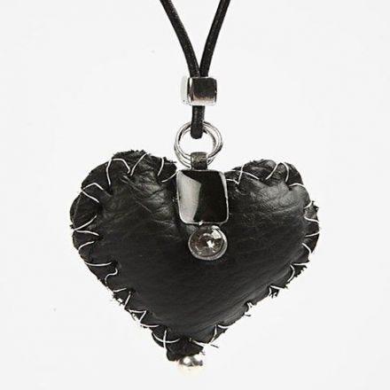 Leather heart pendant