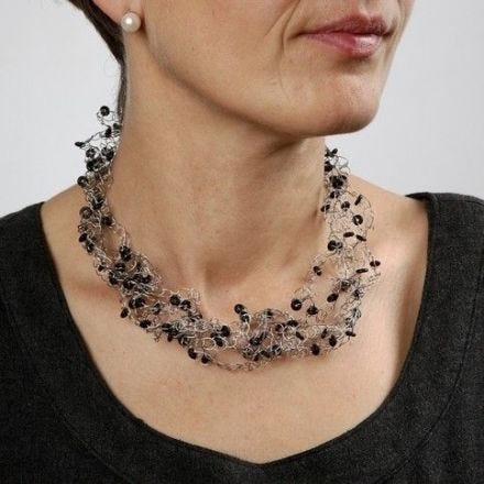 A Crocheted Necklace from Beading Wire with Silicone Stop Rings