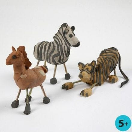 Wild Animals from Self-Hardening Clay and Screws