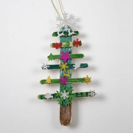 A Christmas Tree made from painted Ice Lolly Sticks with Sequins