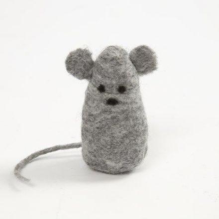 Une souris faite en feutrage humide de laine Mérinos