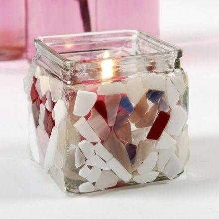 Bougeoir avec mosaïque de verre