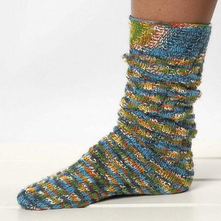 Chaussettes tricotées avec un patron en spirale