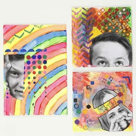 Un image avec une photo imprimée et collée ainsi que des motifs faits à l'aide de pochoirs