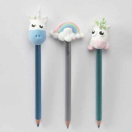 Crayons de couleurs avec licornes et crayon arc-en-ciel pour décorations de la tête