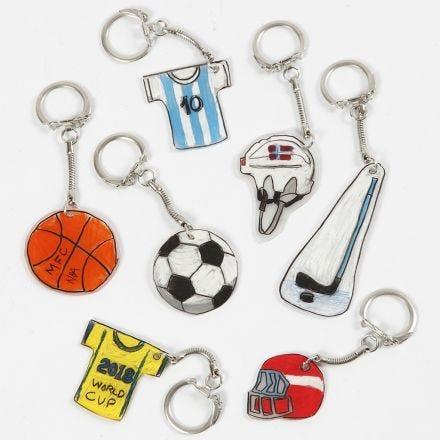 Porte-clés en plastique thermorétractable à thème sportif