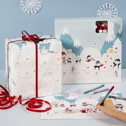 Coloriez un calendrier de l'Avent, une boîte de calendrier de l'Avent et du papier d'emballage avec des dessins du pays des merveilles d'hiver