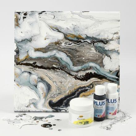 Technique de peinture fluide sur une toile avec de la peinture acrylique et du Pouring-Fluid