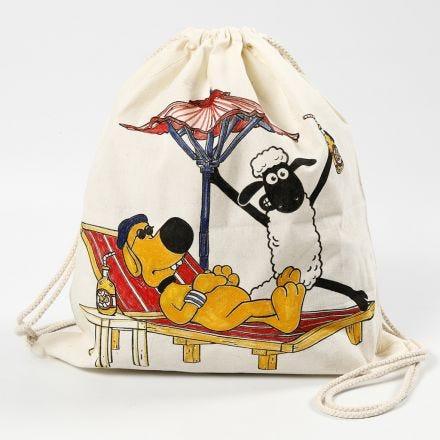 Un sac à cordon Shaun le Mouron décoré aux feutres textiles