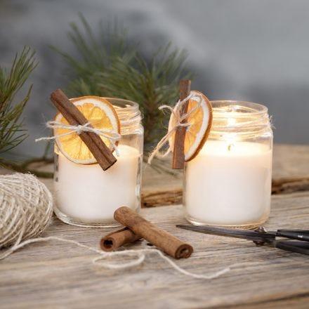 Rapeseed wax candles in jam jars