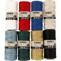 Fil de bambou, ép. 1 mm, couleurs assorties, 8x65 m/ 1 set