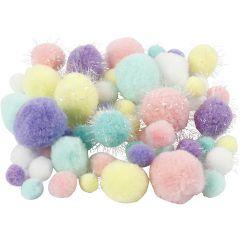 Pompons, d: 15-40 mm, paillettes, couleurs pastel, 62 gr/ 1 Pq.