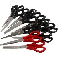 Ciseaux scolaires, L: 14 cm, droitier & gaucher, noir, rouge, 12 pièce/ 1 Pq.