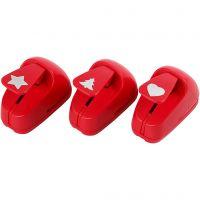 Set de perforatrices, ëtoile, coeur, sapin de Noël, dim. 16 mm, rouge, 1 set