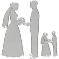 Gabarit de coupe, mariés, dim. 52x81+23x35 mm, 1 pièce