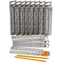 Crayons pour école, L: 17,5 cm, dureté HB, ép. 7 mm, mine 2 mm, 12x12 pièce/ 1 Pq.