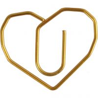 Trombones, coeur, dim. 30x20 mm, or, 6 pièce/ 1 Pq.