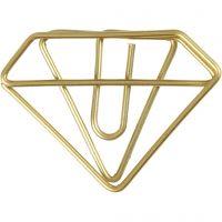 Trombones, diamant, H: 25 mm, L: 35 mm, or, 6 pièce/ 1 Pq.