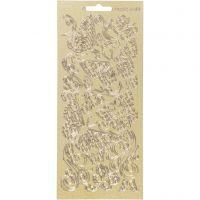 Autocollants, papillons, 10x23 cm, or, 1 flles