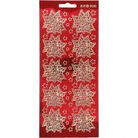 Autocollants, poinsettia, 10x23 cm, or, rouge transparent, 1 flles