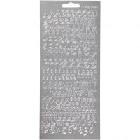 Autocollants, alphabet, 10x23 cm, argent, 1 flles