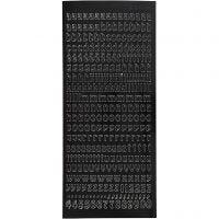 Autocollants, petites lettres, minuscule, 10x23 cm, noir, 1 flles