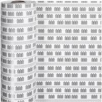 Papier cadeau, cabines de plage, L: 57 cm, 80 gr, noir, blanc, 150 m/ 1 rouleau