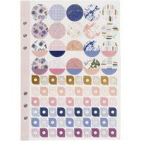 Livre d'autocollants, fleurs, A5, or, violet, rose, 1 pièce/ 1 Pq.