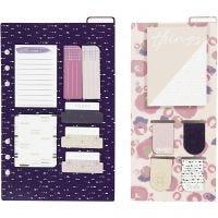 Assortiment de post-it et de marque-pages, dim. 10,3x22 + 13,8x22 cm, or, violet, rose, 2 flles/ 1 Pq.