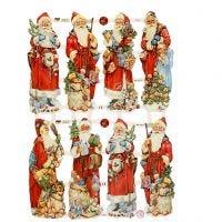 Découpes vintage, Père Noël, 16,5x23,5 cm, 3 flles/ 1 Pq.