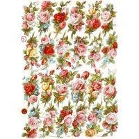 Découpes vintage, bouquets de roses, 16,5x23,5 cm, 3 flles/ 1 Pq.