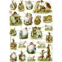 Découpes vintage, Pâques à la campagne, 16,5x23,5 cm, 3 flles/ 1 Pq.