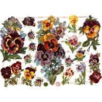 Découpes vintage, fleurs, 16,5x23,5 cm, 3 flles/ 1 Pq.