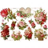 Découpes vintage, roses, 16,5x23,5 cm, 3 flles/ 1 Pq.